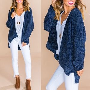 STACEY Softest MUST HAVE Chenille Cardigan - NAVY